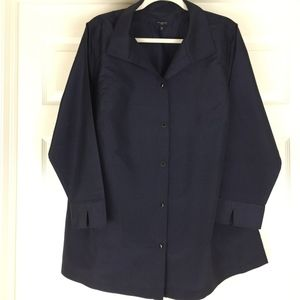Silk shantung top jacket NWOT navy blue Talbots